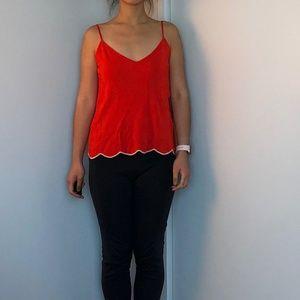 Zara Scalloped Red Camisole Small